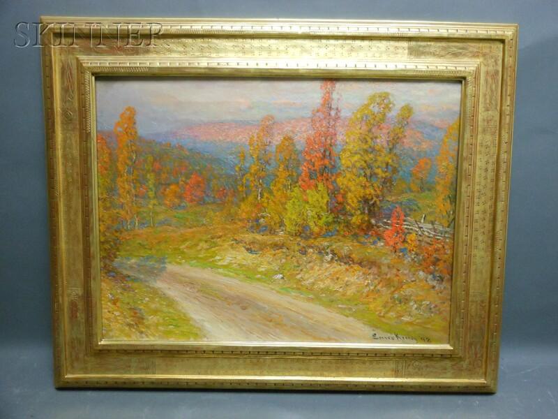 John Joseph Enneking (American, 1841-1916)      Autumn - Edge of Woods/Road