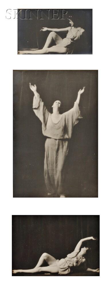 Arnold Genthe (American, 1869-1942)      Three Studies of Isadora Duncan