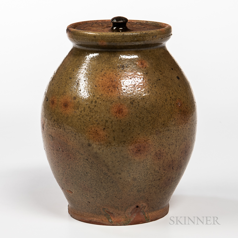 Green Glazed Redware Jar with Lid