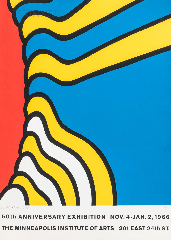 Nicholas Krushenick (American, 1929-1999)      Exhibition Poster: 50th Anniversary Exhibition-The Minneapolis Institute of Arts