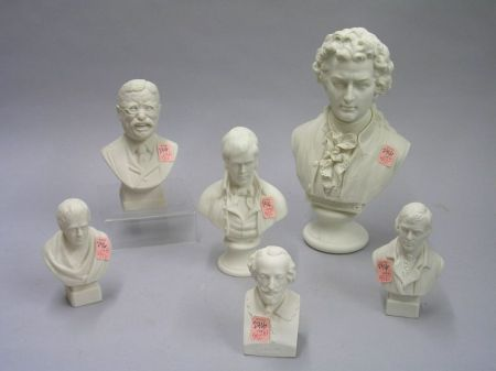 Six Parian Busts of Notable Men