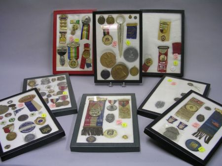 Group of Military, Political, Commemorative, and Fraternal Badges, Medals and