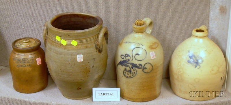 Five Cobalt Decorated and Highlighted Stoneware