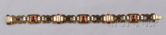Retro 18kt Gold, Platinum, Citrine, and Enamel Bracelet