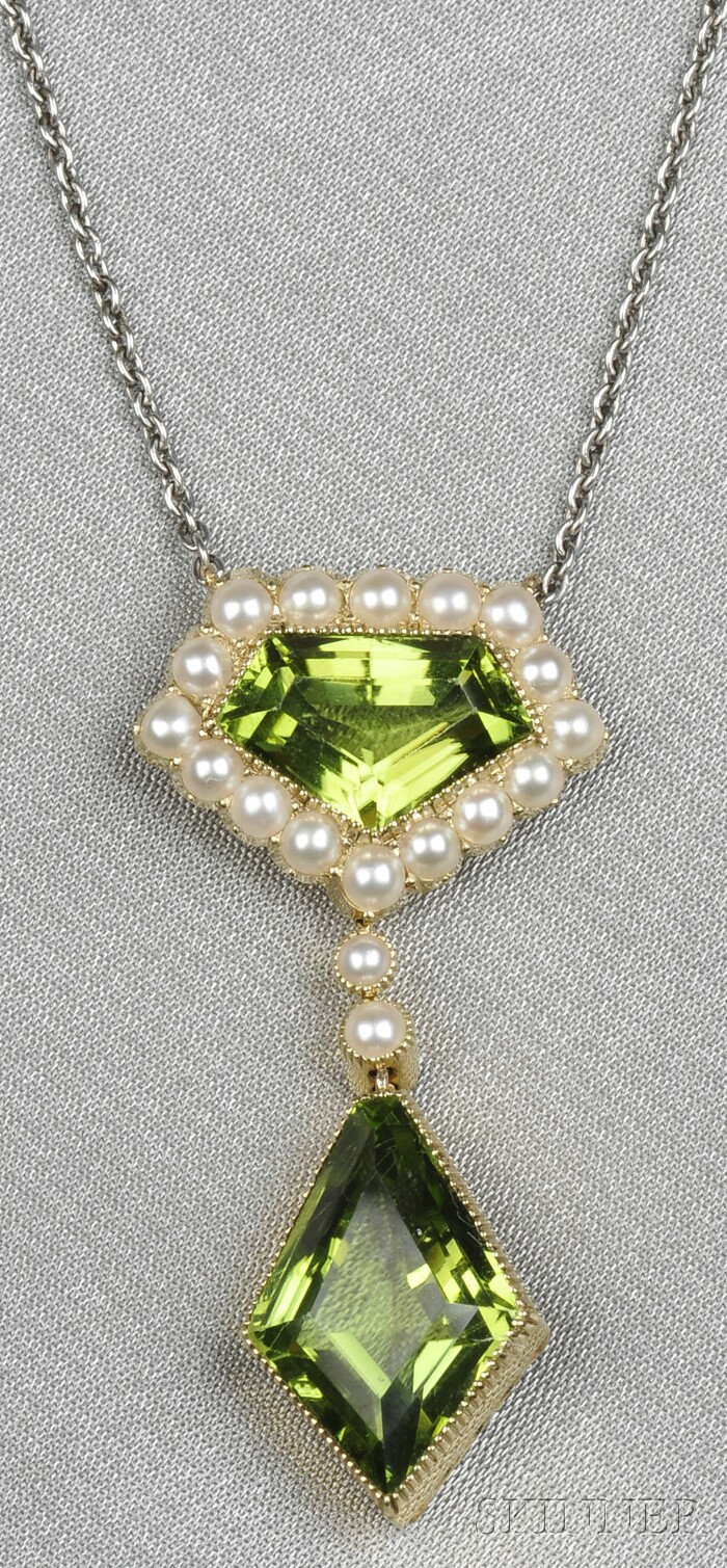 Edwardian Peridot and Split Pearl Pendant