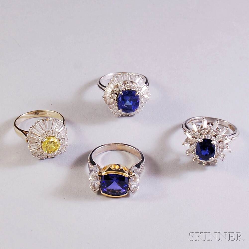 Four Colored Gemstone and Diamond Rings