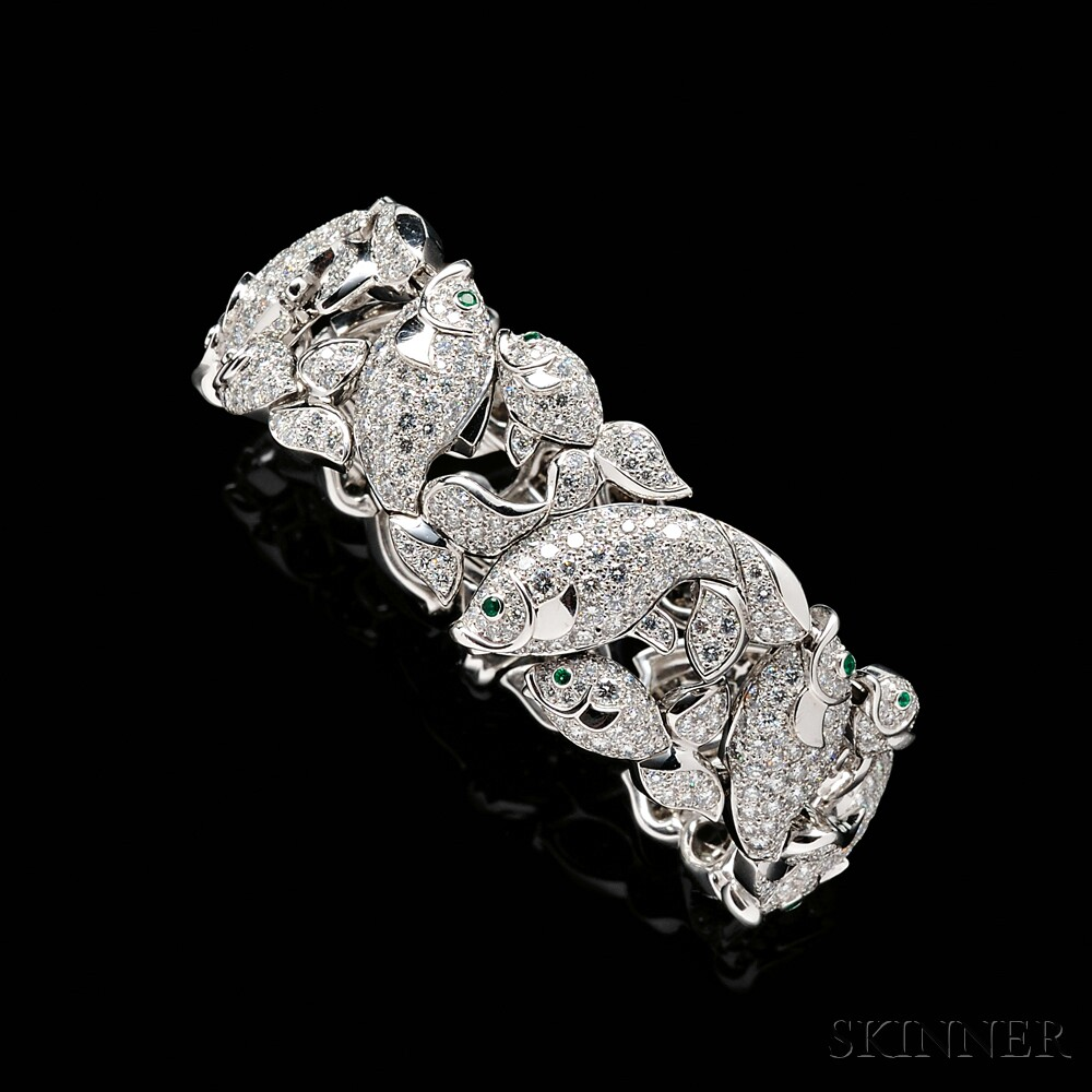 18kt White Gold and Diamond Strap Bracelet, Cartier