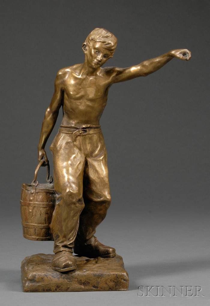 Edward Drouot (French, 1859-1945)   Bronze Figure of a Man Carrying a Bucket of Water