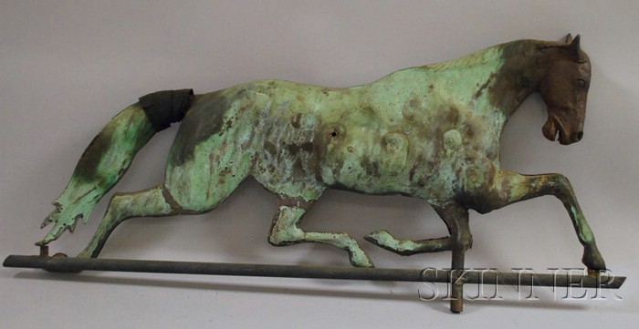Patinated Molded Copper Full-body Running Horse Weather Vane with Cast Iron Head