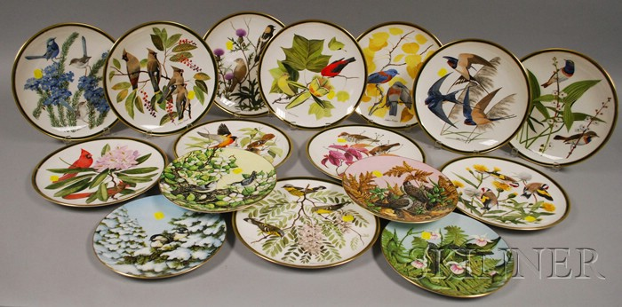 Set of Twelve Wedgwood Audubon Society Songbirds of the World Plates and Four Romance of the Seasons Bird Plates.