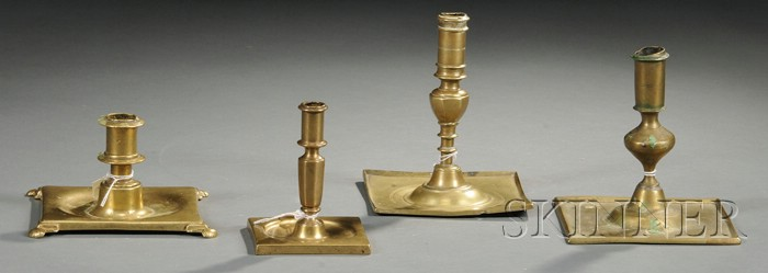 Four Spanish-type Brass Candlesticks