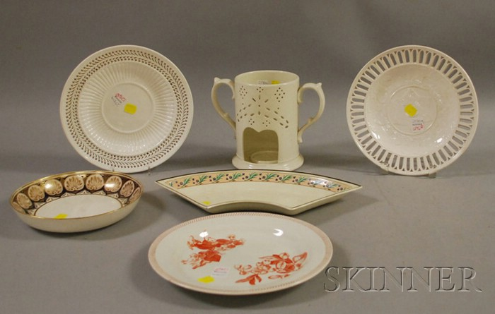 Six Pieces of Assorted Mostly English Creamware Tableware