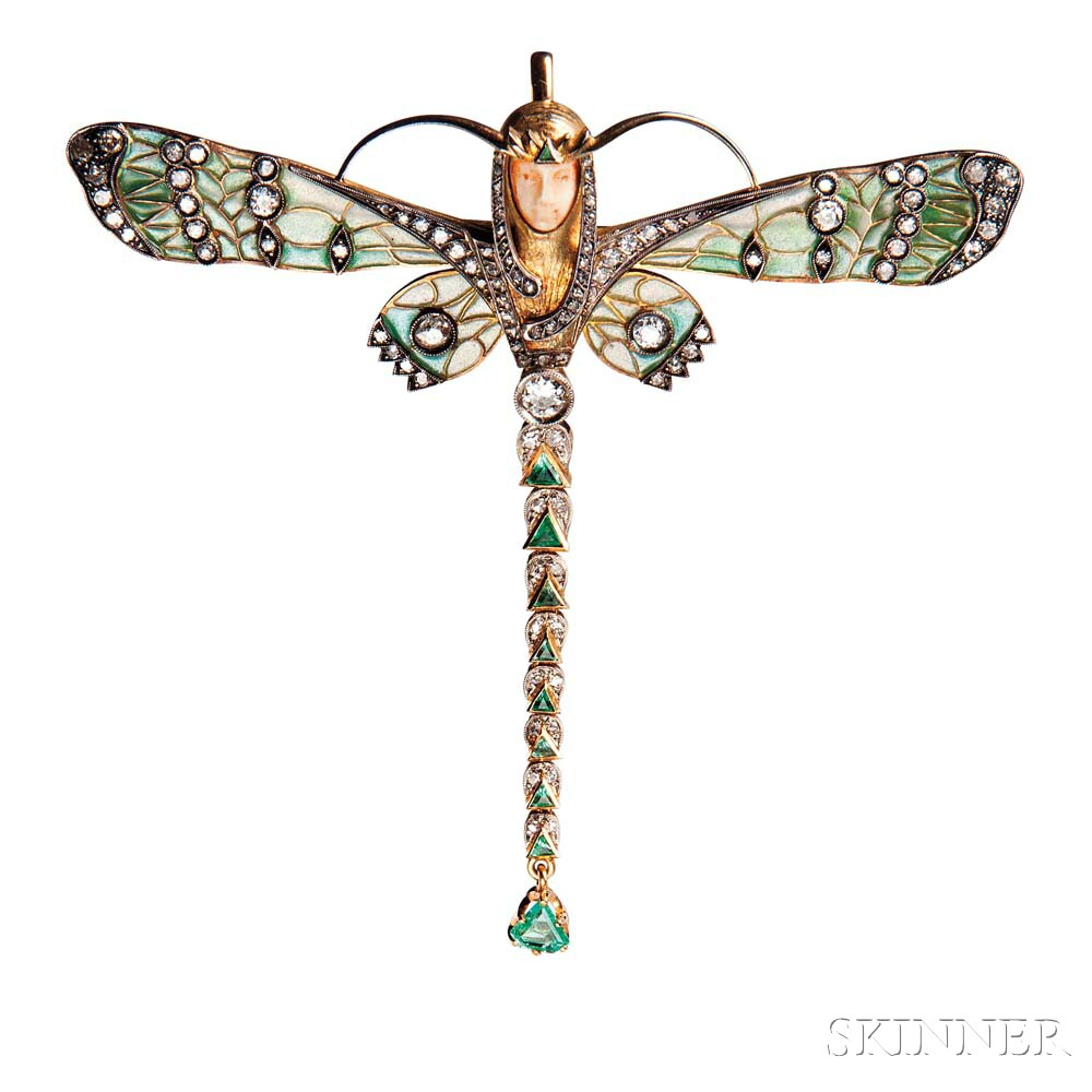 Art Nouveau 18kt Gold, Diamond, Emerald, Ivory, and Plique-a-jour Enamel Brooch/Pendant, Masriera y Carreras