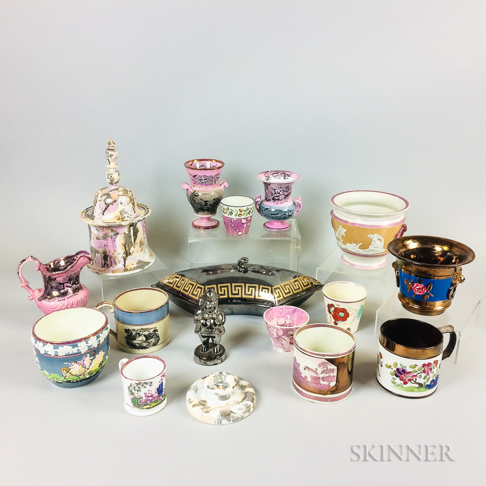 Sixteen Lustre-decorated Ceramic Items