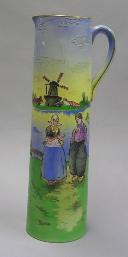 St. Clement Glazed and Slip Decorated Scenic Earthenware Pitcher