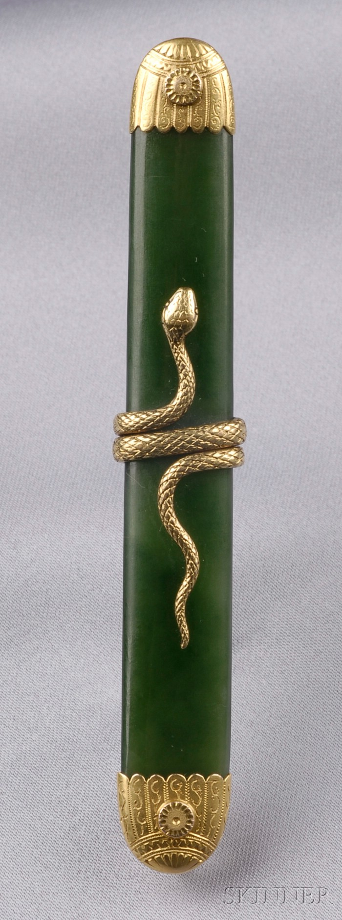 Antique 14kt Gold and Nephrite Snake Brooch