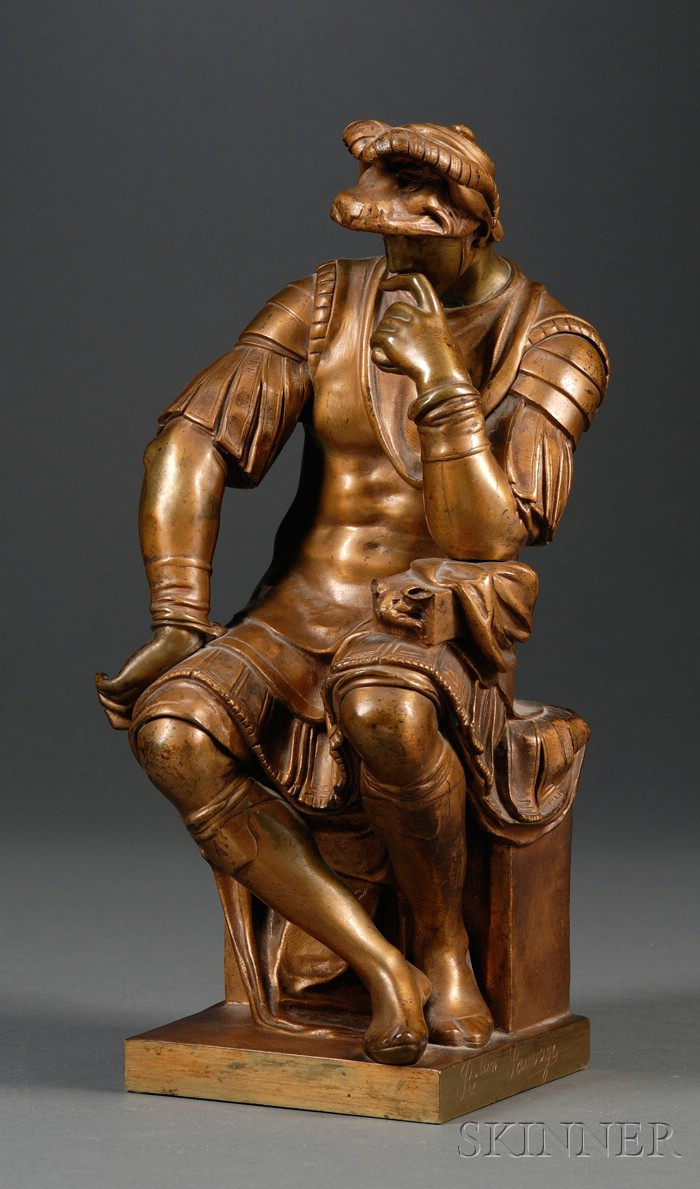 "Bronze ""Grand Tour"" Figure of Lorenzo de Medici after Michelangelo"