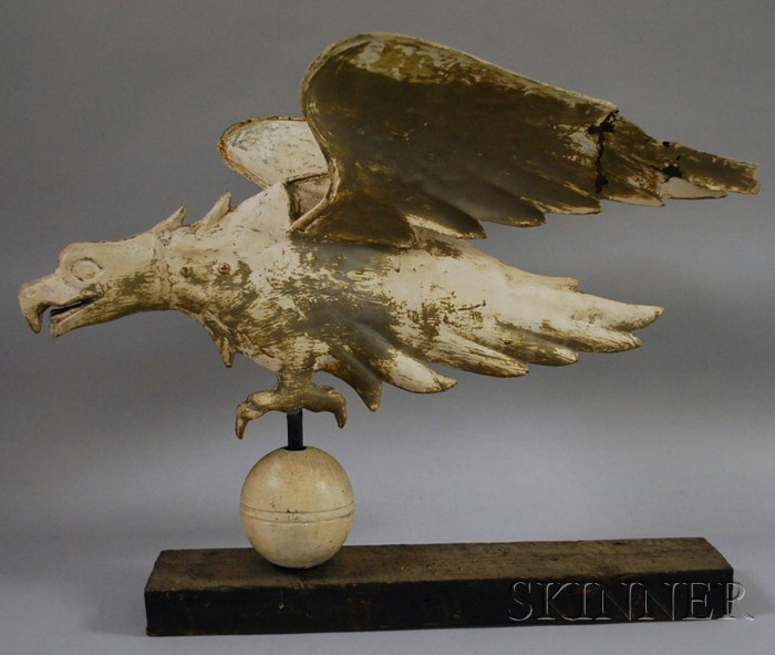 Painted Molded Copper Eagle Weather Vane with Cast Zinc Head
