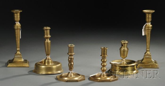 Six Brass Candlesticks