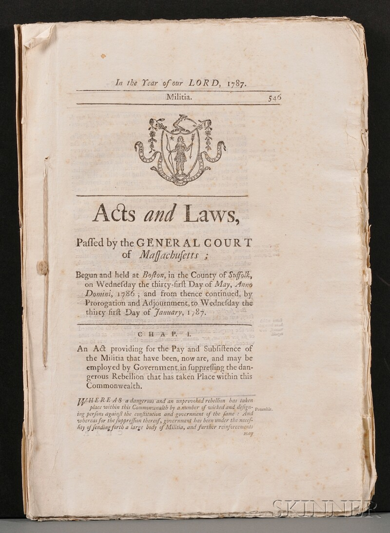 (Shay's Rebellion, Acts and Laws of Massachusetts)