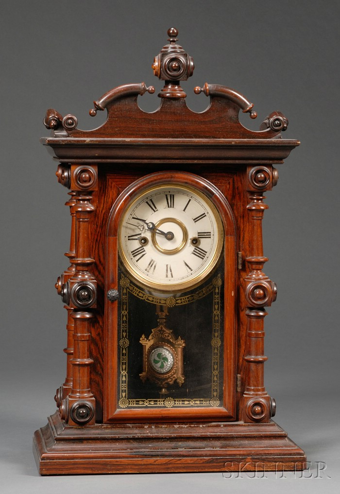 "American Victorian ""Cary"" Rosewood Eight Day Mantel Clock"