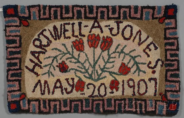 Hooked Wool Rug with Tulips