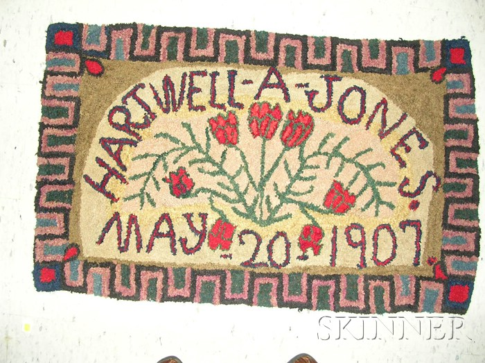 Hooked Wool Rug with Tulips