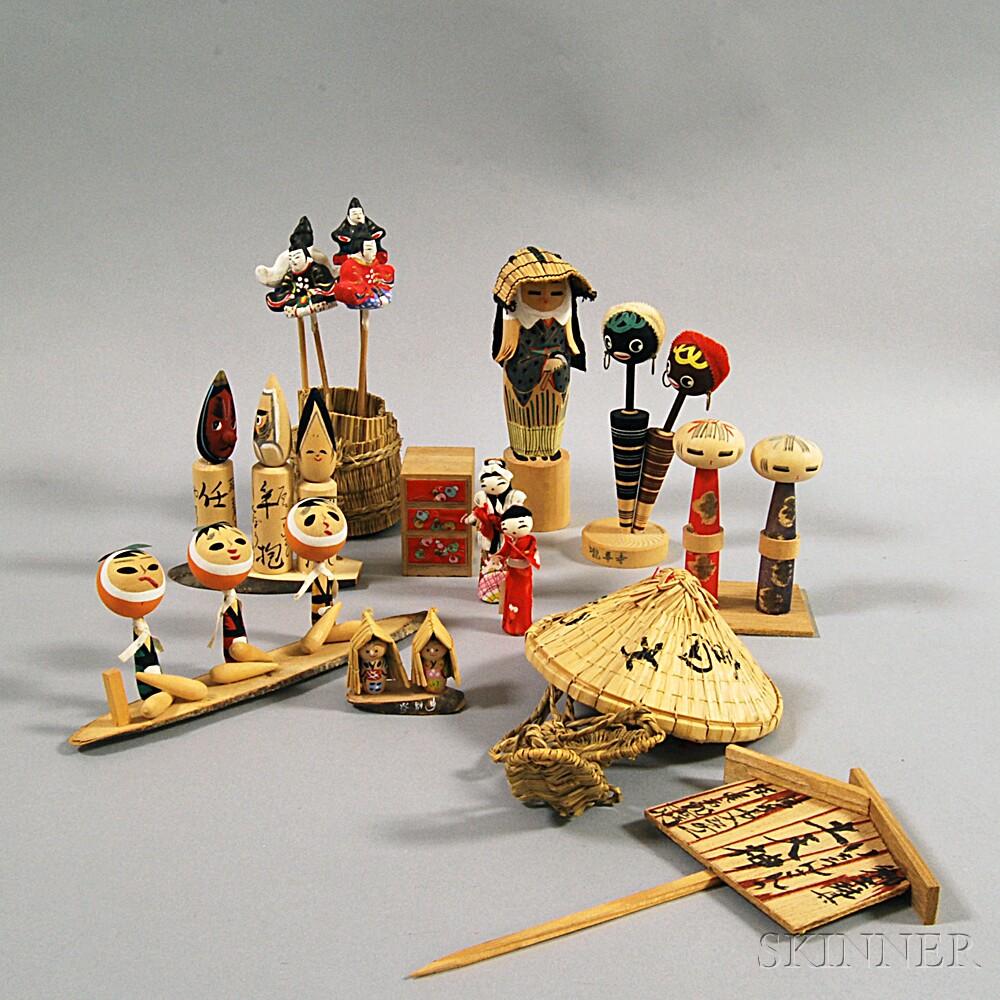 Japan Traditional Toys : Twelve japanese folk art mingei dolls and toys sale
