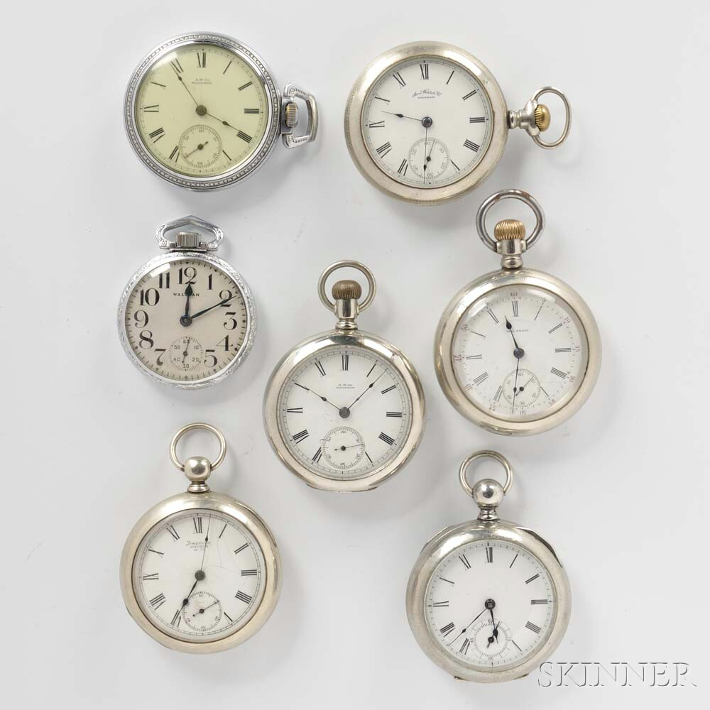 Seven Waltham Open-face Watches