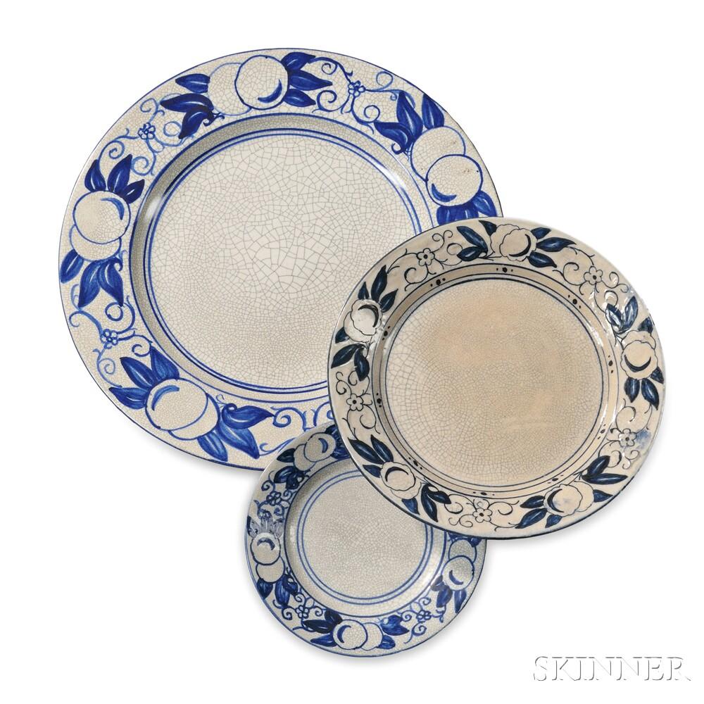 Three Dedham Pottery Horse Chestnut Pattern Plates
