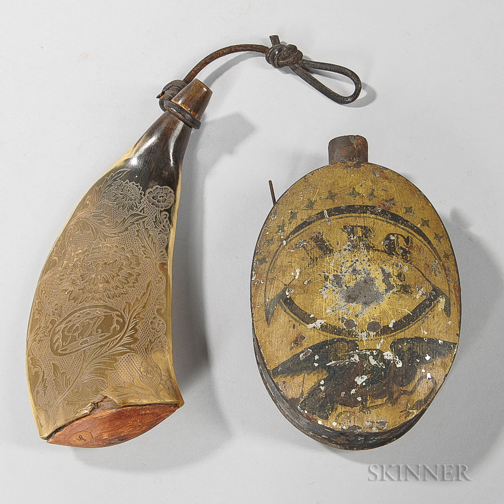 Horn Powder Flask and Painted Tin Flask