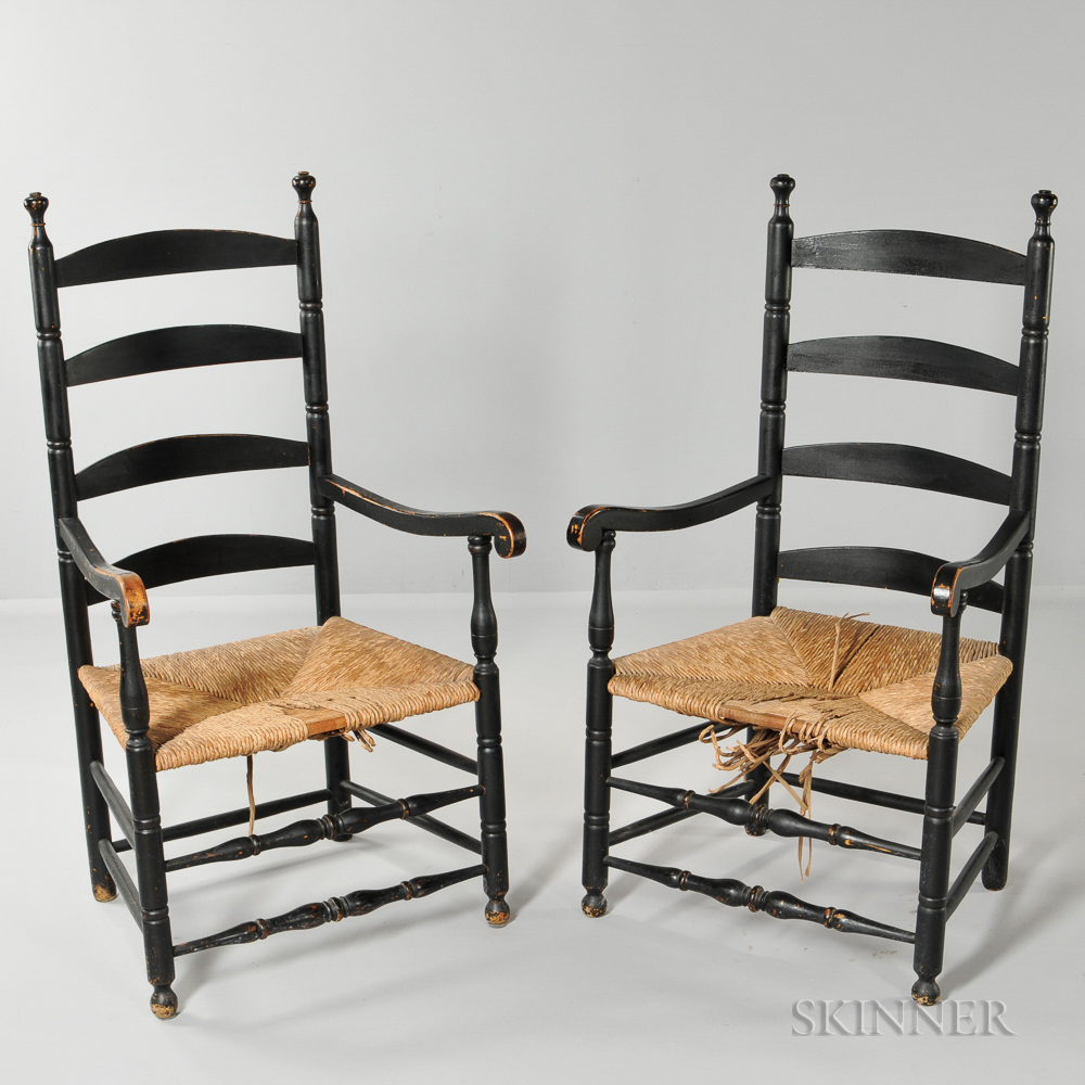 Pair of Black-painted Slat-back Armchairs