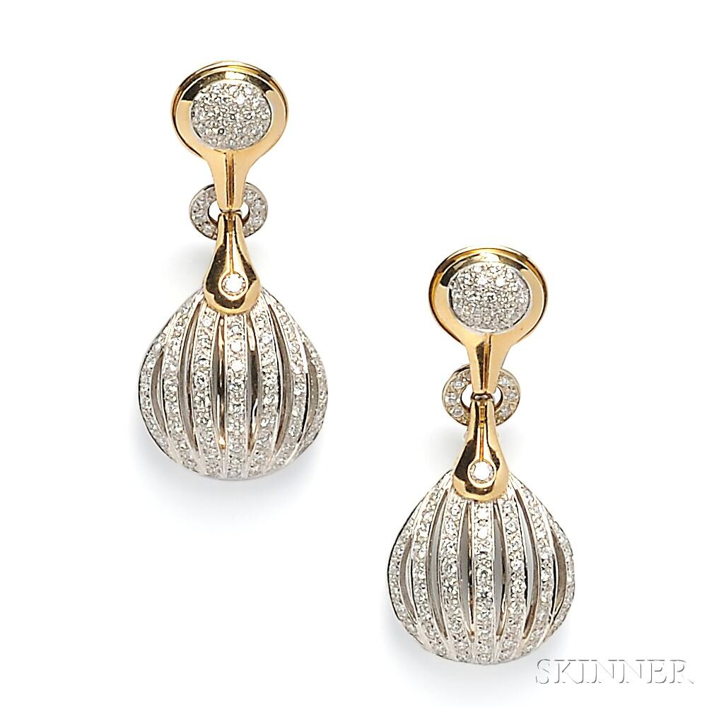 18kt Bicolor Gold and Diamond Earpendants, Antonini