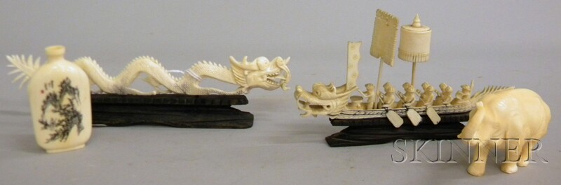 Four Small Chinese Ivory Carvings