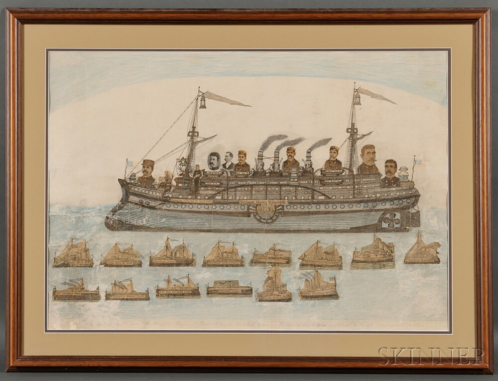 Framed Wax Crayon, Pencil, and Decoupage on Paper View of a Steamship
