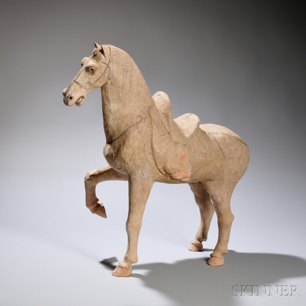 Painted Pottery Prancing Caparisoned Horse