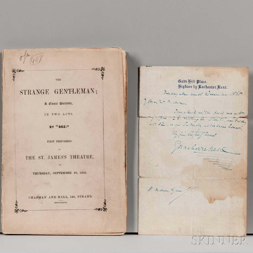 Dickens, Charles (1812-1870) Autograph Letter Signed, 19 December 1865, and The Strange Gentleman.