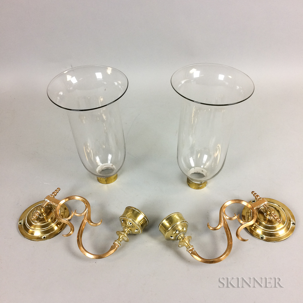Pair of Bell Metal and Colorless Glass Wall Sconces