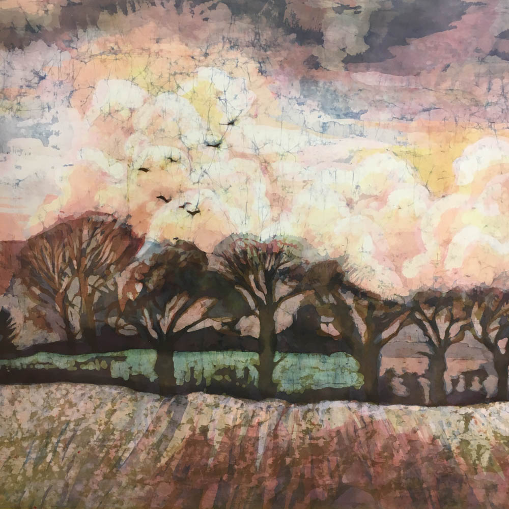 Two Framed Mary Taylor Abstract Landscape Batiks
