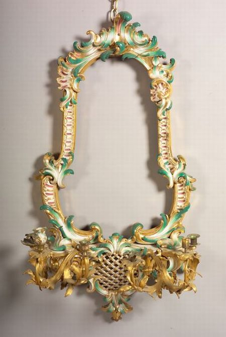Rococo Style Green Painted and Parcel-gilt Porcelain and Ormolu Girandole