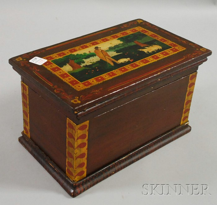 Polychrome Paint-decorated Wooden Box with Lid