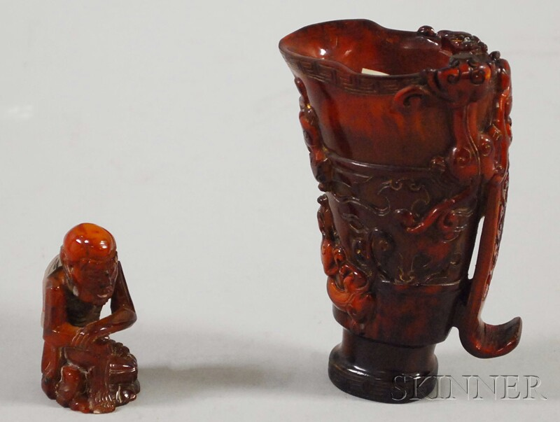 Chinese Carved Buffalo Horn Ritual Cup and a Small Seated Figure