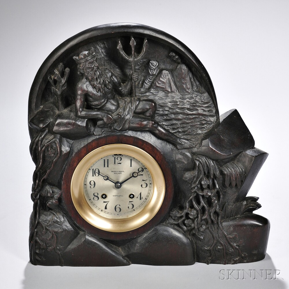 "Carved Walnut-cased ""Neptune Chelsea"" Ship's Bell Clock"