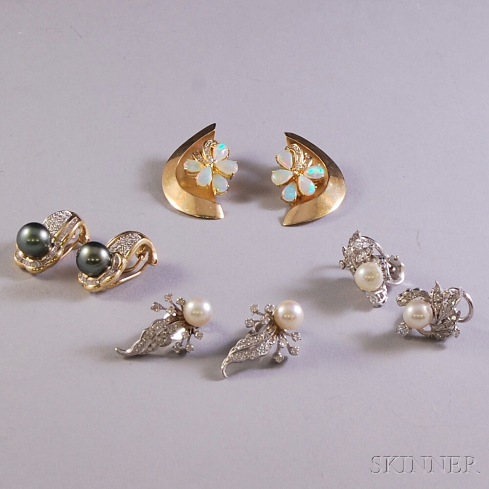 Group of 14kt Gold and Gem-set Earclips
