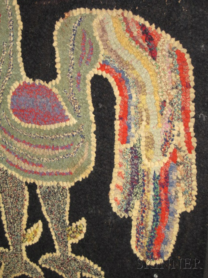 Figural Hooked Wool Rug with Two Roosters