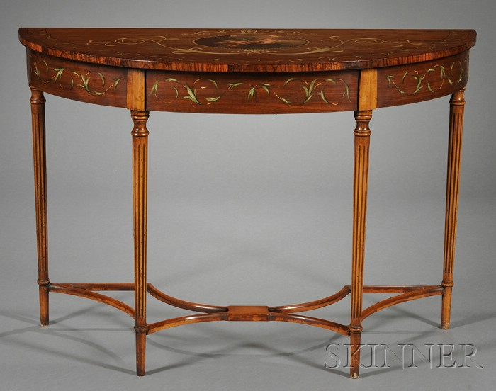 George III style Painted and Inlaid Satinwood Console