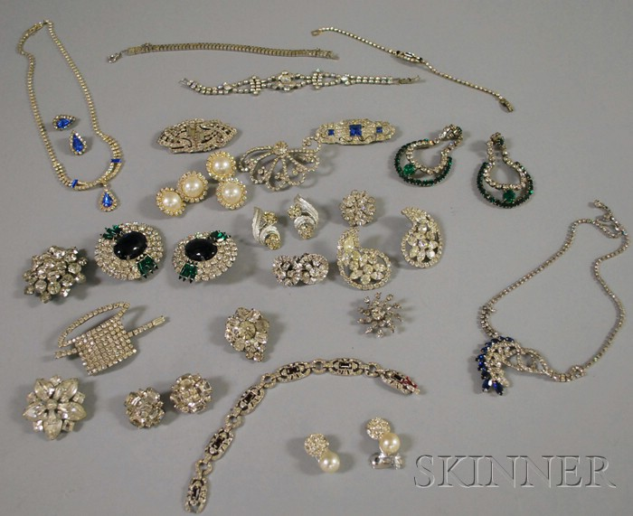 Group of Mostly Antique Rhinestone and Paste Jewelry