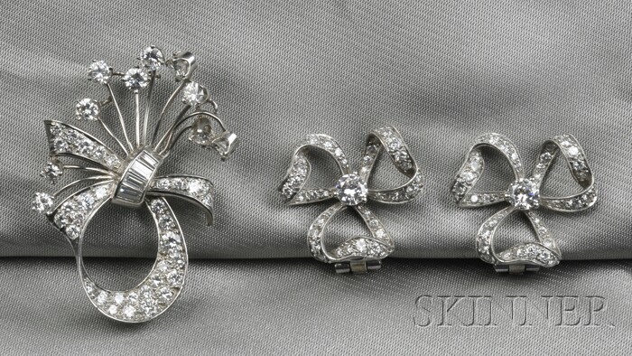 Platinum and Diamond Brooch and Earclips