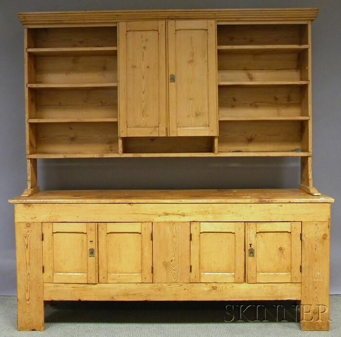 British Provincial Pine Pewter Cupboard