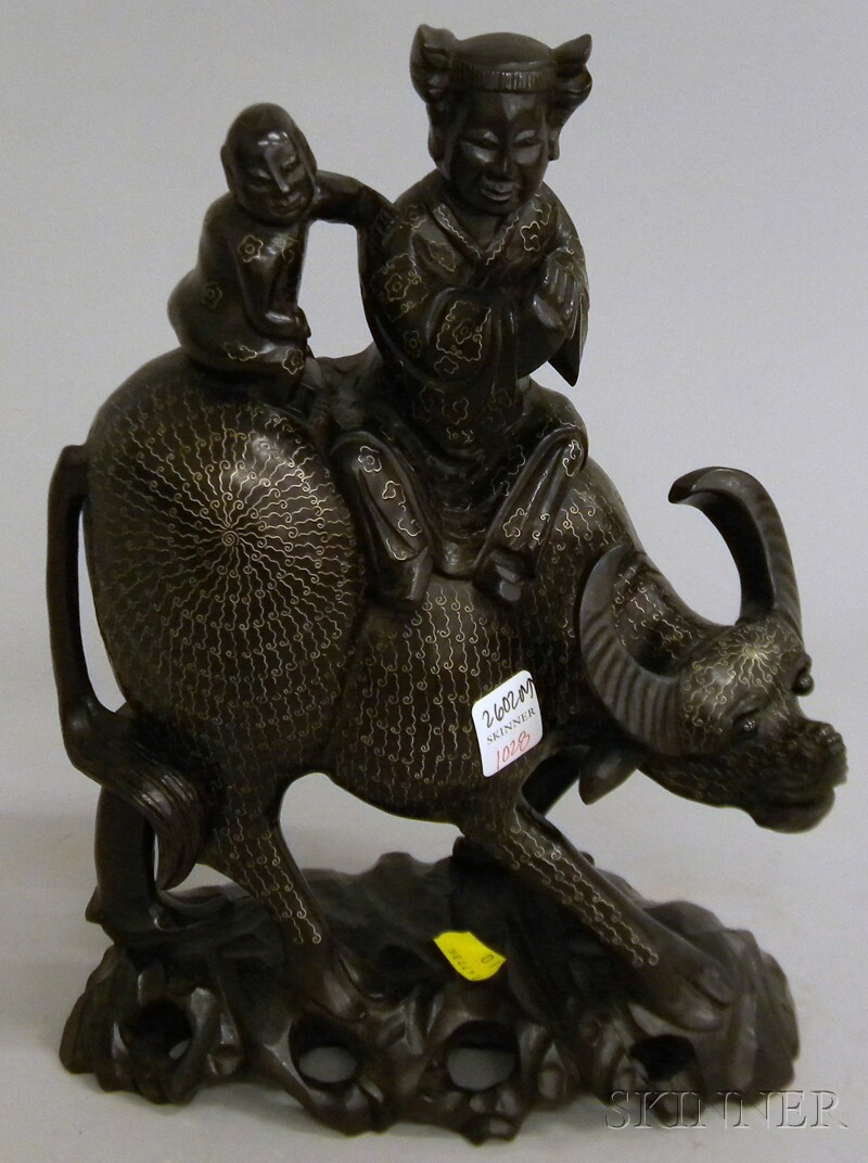 Asian Inlaid Carved Wood Figural Group Depicting Figures atop an Ox